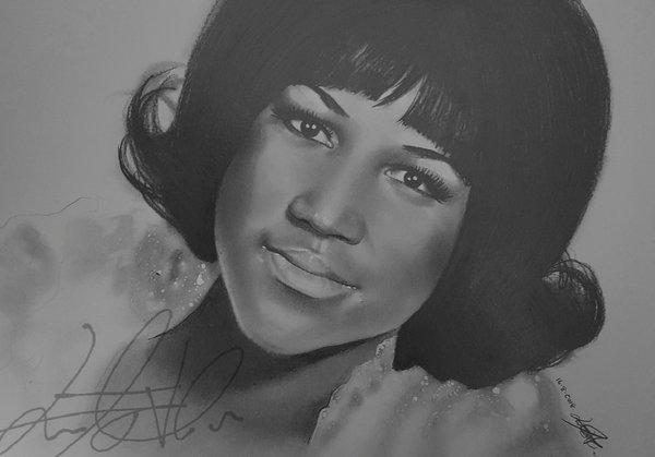 Aretha Franklin art work by DeviantArt user Louise-Veale